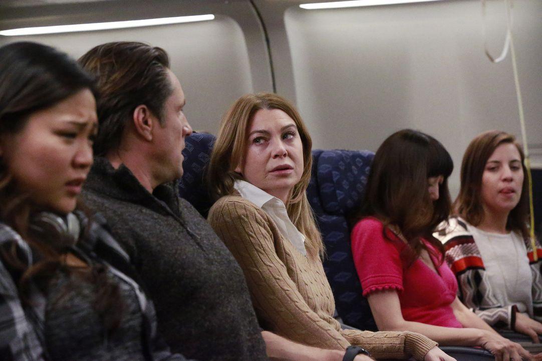 Meredith (Ellen Pompeo, M.) und Nathan (Martin Henderson, 2.v.l.) sind auf dem Weg zur gleichen Konferenz. Als sie im Flugzeug nebeneinandersitzen,... - Bildquelle: Mitch Haaseth 2017 American Broadcasting Companies, Inc. All rights reserved.