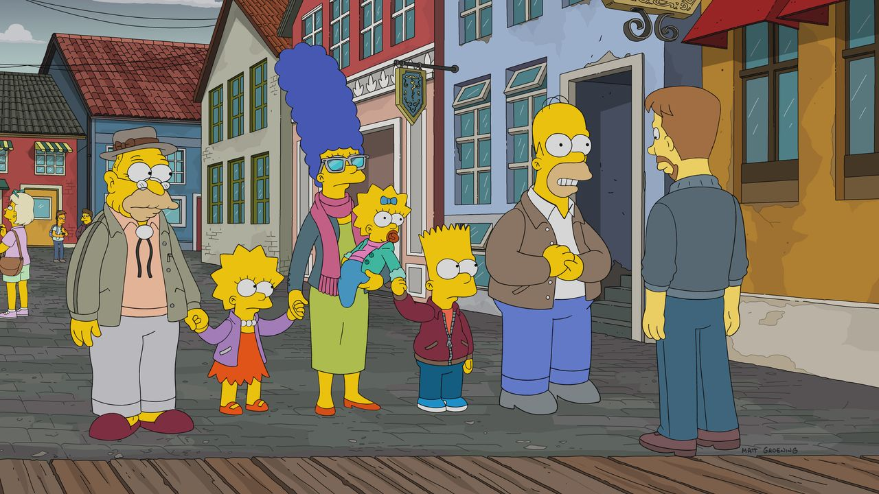 (v.l.n.r.) Grampa; Lisa; Marge; Maggie; Bart; Homer; Søren - Bildquelle: 2017-2018 Fox and its related entities. All rights reserved.