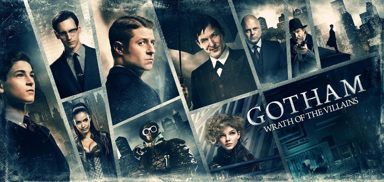 (2. Staffel) - Gotham: Bruce Wayne (David Mazouz, l.), Edward Nygma (Cory Michael Smith, oben l.), Gordon (Ben McKenzie, oben 2.v.l.), Penguin (Robi... - Bildquelle: Warner Brothers