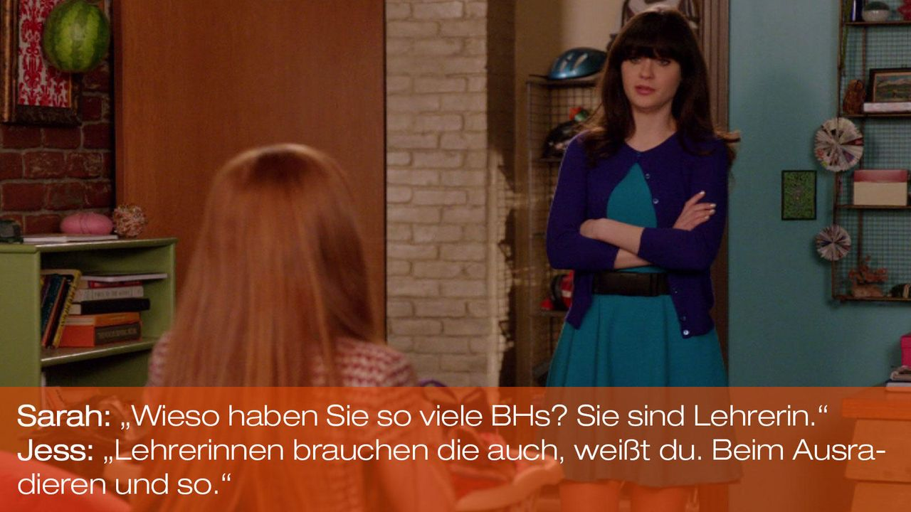 New Girl - Zitate - Staffel 1 Folge 21 - Sarah (Annalise Basso), Jess (Zooey Deschanel) - Bildquelle: 20th Century Fox