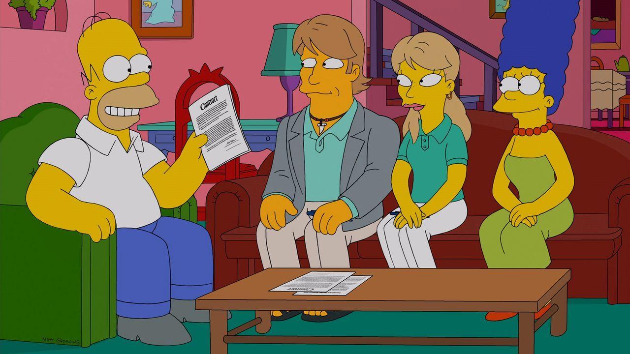 Nach einem schweren Tornado, suchen Homer (l.) und Marge (r.) einen geeigneten Vormund für ihre Kinder, falls ihnen mal was zustoßen sollte - doch s... - Bildquelle: und TM Twentieth Century Fox Film Corporation - Alle Rechte vorbehalten