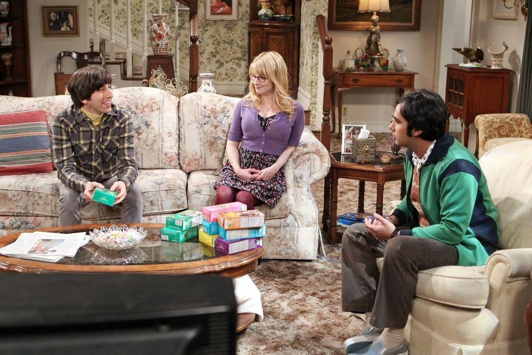 Gerade noch reden Howard (Simon Helberg, l.), Bernadette (Melissa Rauch, M.) und Raj (Kunal Nayyar, r.) über das Haus, klingelt auch schon ein unerw... - Bildquelle: Warner Bros. Television
