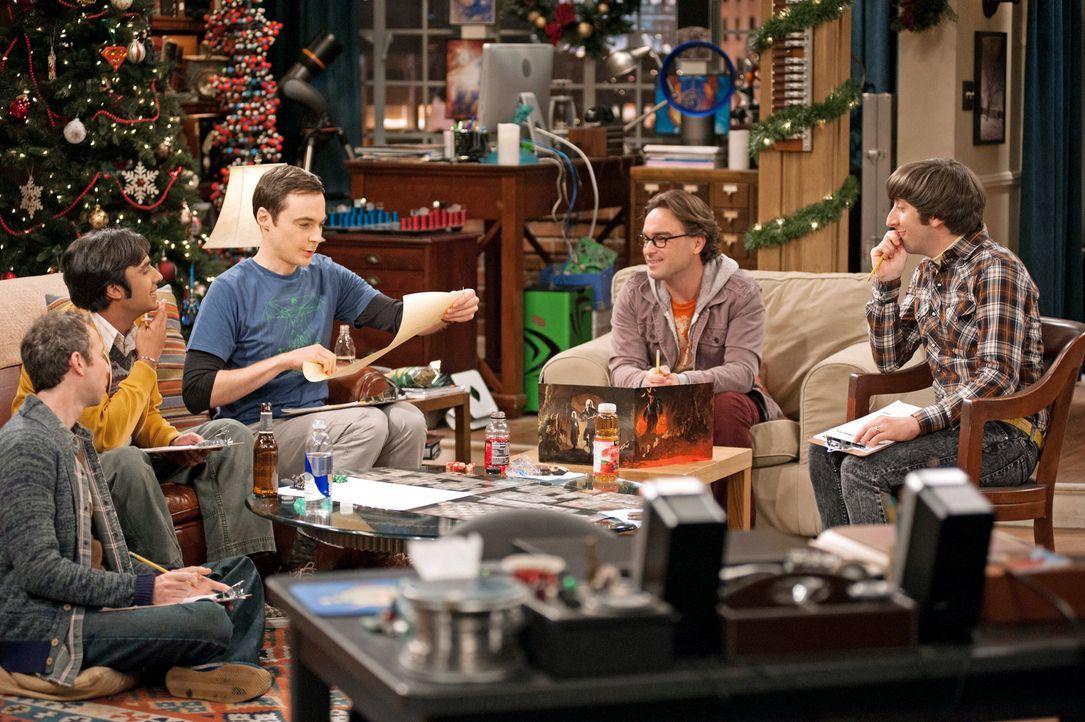 Ein ganz besonderer Spieleabend: Howard (Simon Helberg, r.), Sheldon (Jim Parsons, M.), Leonard (Johnny Galecki, 2.v.r.), Raj (Kunal Nayyar, 2.v.l.)... - Bildquelle: Warner Bros. Television