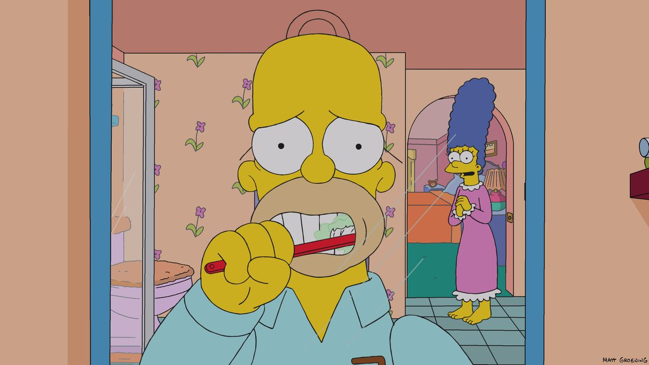 Als Homer (l.) klar wird, dass man nur einmal lebt, wird er sehr kritisch mit seinem Leben. Um ihren Mann aufzuheitern, plant Marge (r.) eine Überra... - Bildquelle: 2013 Twentieth Century Fox Film Corporation. All rights reserved.
