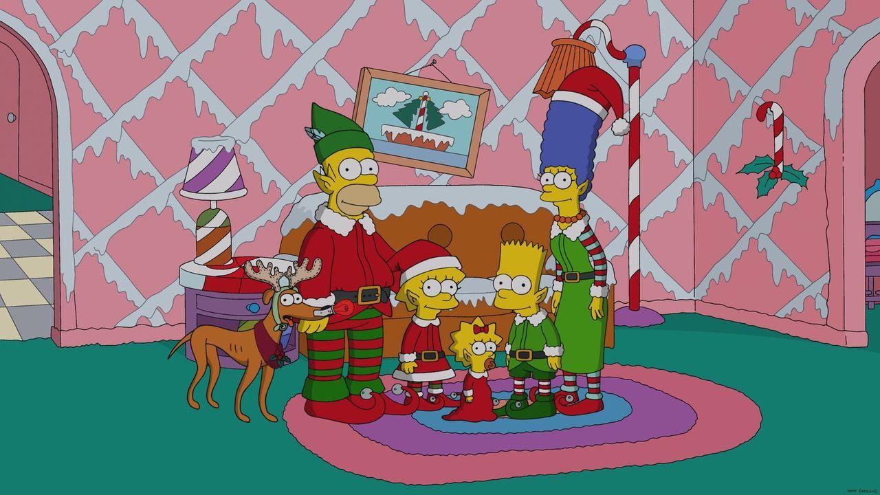 Die Simpsons, von Kopf bis Fuß auf Weihnachten eingestellt: Hund Knecht Ruprecht (l.), Homer (2.v.l.), Lisa (3.v.l.), Maggie (3.v.r.), Bart (2.v.r.)... - Bildquelle: 2013 Twentieth Century Fox Film Corporation. All rights reserved.
