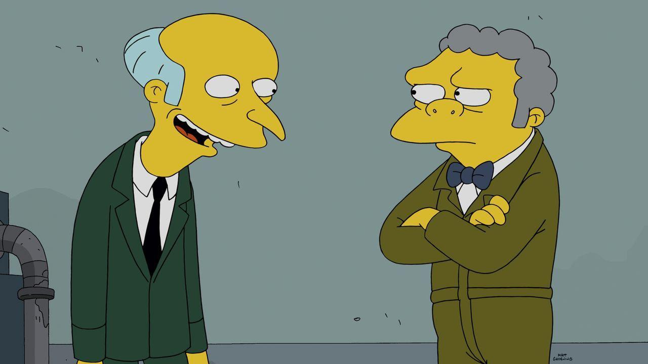 Nachdem Homers Idee mit der Bar Moe (r.) ruiniert hat, muss er einen Job bei Mr. Burns (l.) annehmen ... - Bildquelle: 2014 Twentieth Century Fox Film Corporation. All rights reserved.