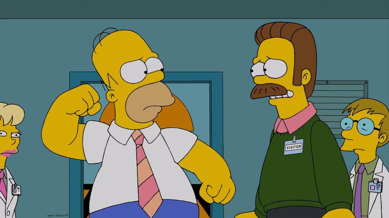 Flanders (2.v.r.) wird eifersüchtig, als seine lässigen Eltern beginnen, lieber Zeit mit Homer (2.v.l.) als mit ihm zu verbringen ... - Bildquelle: und TM Twentieth Century Fox Film Corporation - Alle Rechte vorbehalten