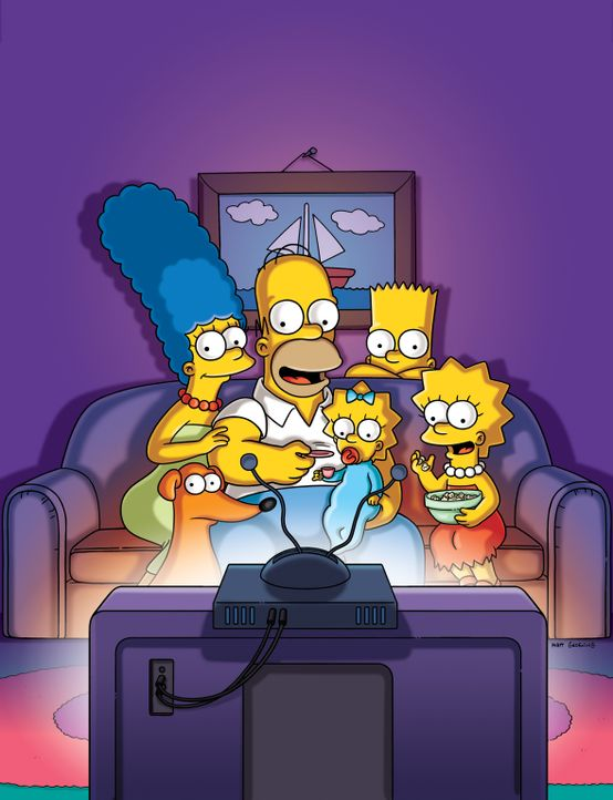 (26. Staffel) - Die Simpsons sind eine nicht alltägliche Familie: Maggie (M.), Marge (l.), Lisa (r.), Homer (2.v.l.) und Bart (2.v.r.) ... - Bildquelle: 2014 Fox and its related entities. All rights reserved