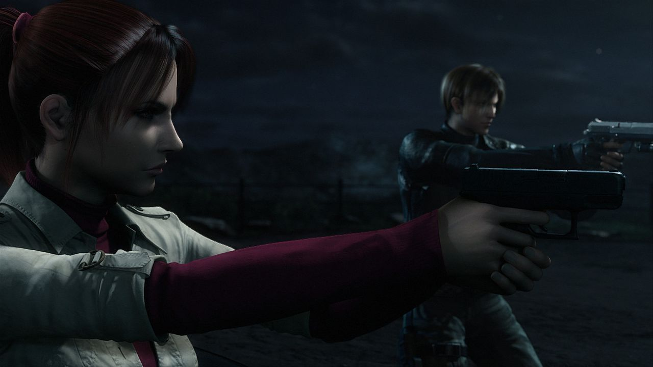 Sieben Jahre nach der Zerstörung von Racoon City bringt ein Zombie-Angriff auf den Harvardville Flughafen den Spezial-Agenten Leon S. Kennedy (hinte... - Bildquelle: 2008 Capcom Co., Ltd. and Resident Evil CG Film Partners. All Rights Reserved.