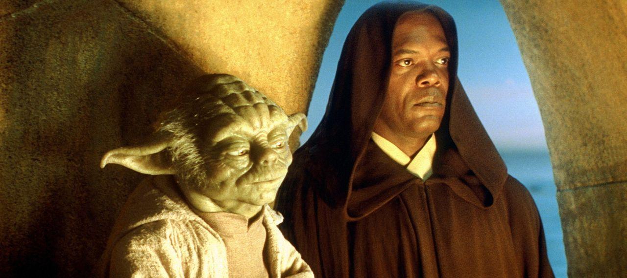 Weil die Meister Mace Windu (Samuel L. Jackson, r.) und Yoda (Frank Oz, r.) ahnen, dass sich seine außergewöhnlich stark ausgeprägte Macht in ein... - Bildquelle: 1999 Lucasfilm Ltd. & TM All rights reserved Used with permission