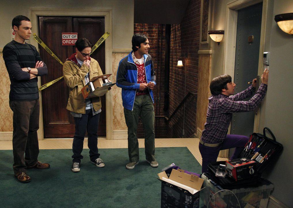 Als Sheldon (Jim Parsons, l.) und Leonard (Johnny Galecki, 2.v.l.) nach einem gemeinsamen Essen mit Raj (Kunal Nayyar, 2.v.r.) und Howard (Simon Hel... - Bildquelle: Warner Bros. Television
