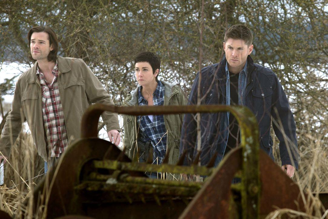 Nachdem bei Sheriff Mills (Kim Rhodes, M.) auf dem Revier ein Mädchen von einem Vampir bedroht wird, ruft sie Sam (Jared Padalecki, l.) und Dean (Je... - Bildquelle: 2013 Warner Brothers