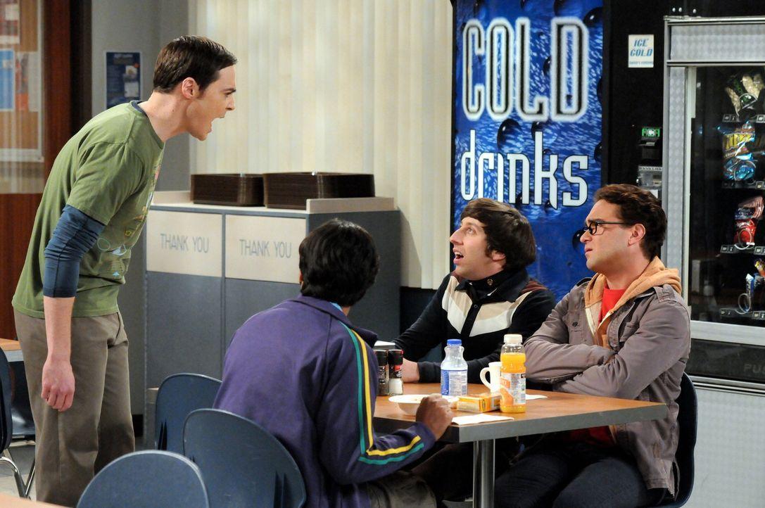 Sind sich nicht immer einig: Sheldon (Jim Parsons, l.), Raj (Kunal Nayyar, 2.v.l.), Leonard (Johnny Galecki, r.) und Howard (Simon Helberg, 2.v.r.)... - Bildquelle: Warner Bros. Television