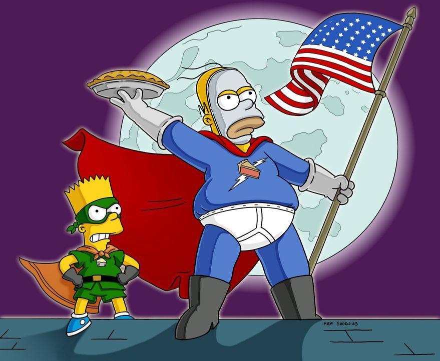 Homer (r.) hat der Ungerechtigkeit den Kampf angesagt: Als Superheld verkleidet, rächt er sich an den Halunken, indem er ihnen Torten ins Gesicht s... - Bildquelle: und TM Twentieth Century Fox Film Corporation - Alle Rechte vorbehalten