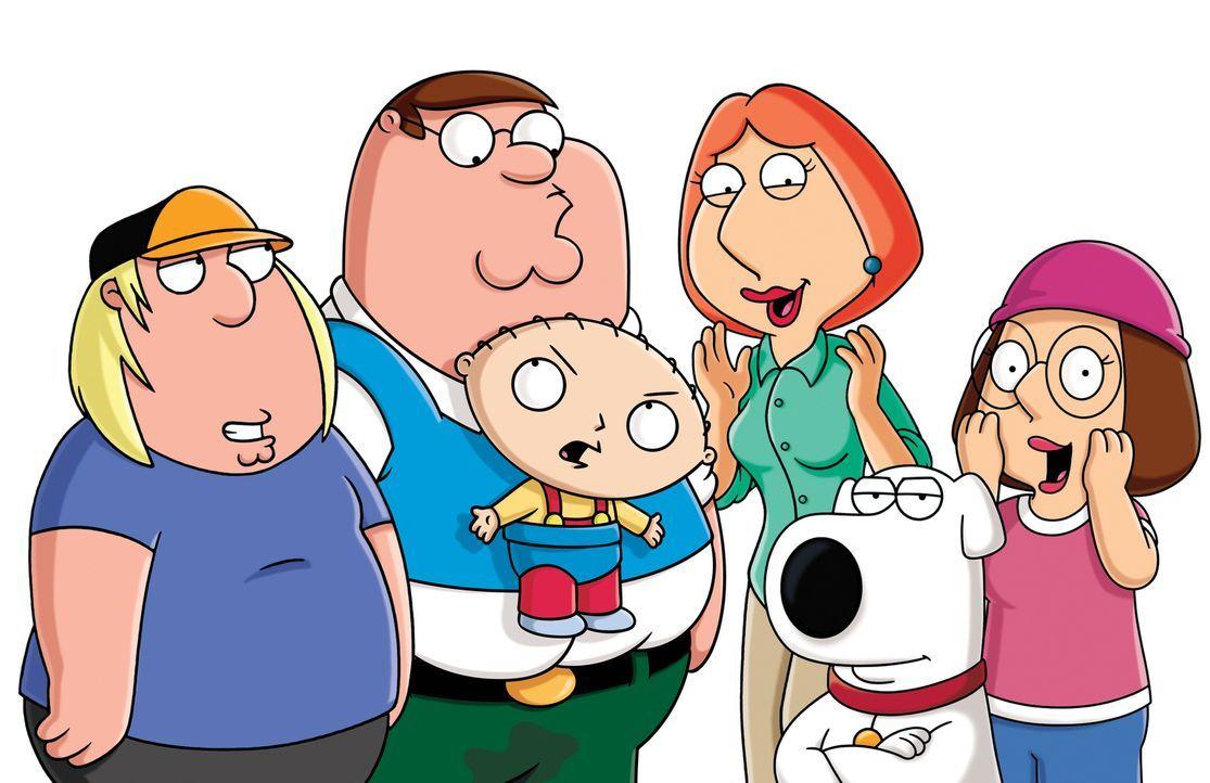 (13. Staffel) - Familie Griffins - eine ganz spezielle Familie: Chris (l.), Peter (2.v.l.), Lois (3.v.r.), Meg (2r.), Brian (2.v.r.) und Stewie (3.v... - Bildquelle: 2014 Twentieth Century Fox Film Corporation. All rights reserved.