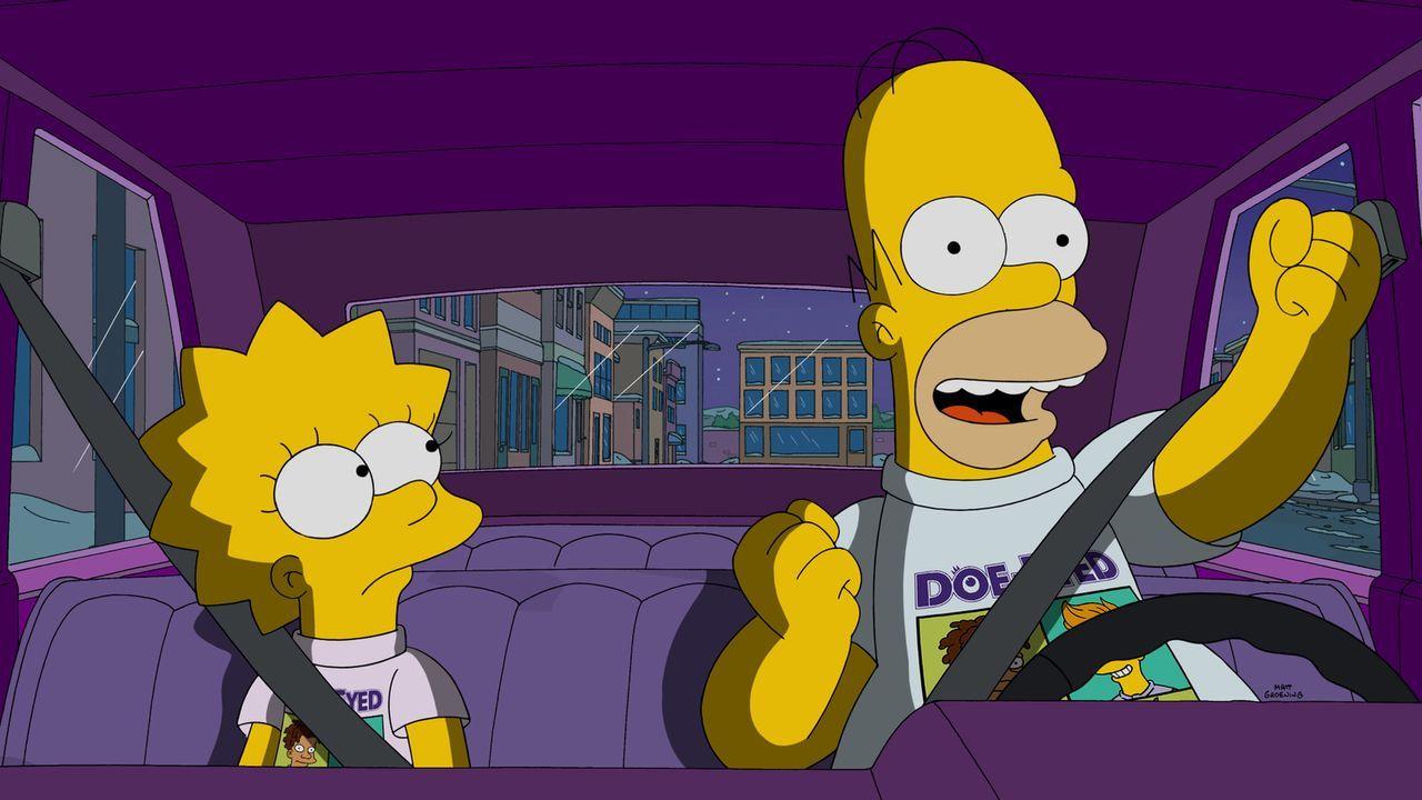 Lisa (l.) lernt Harper kennen, die sich sogleich mit ihr anfreundet. Als Harpers Vater Lisa und Homer (r.) zu einem Konzert einlädt, wird sehr schne... - Bildquelle: 2015 Fox and its related entities.  All rights reserved.
