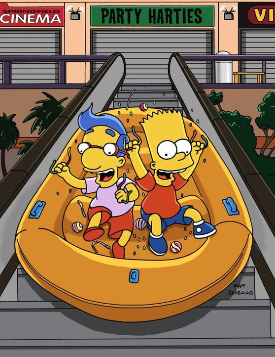 Bart (r.) und Milhouse (l.) stellen nachts das Einkaufszentrum auf den Kopf. - Bildquelle: und TM Twenthieth Century Fox Film Corporation - Alle Rechte vorbehalten