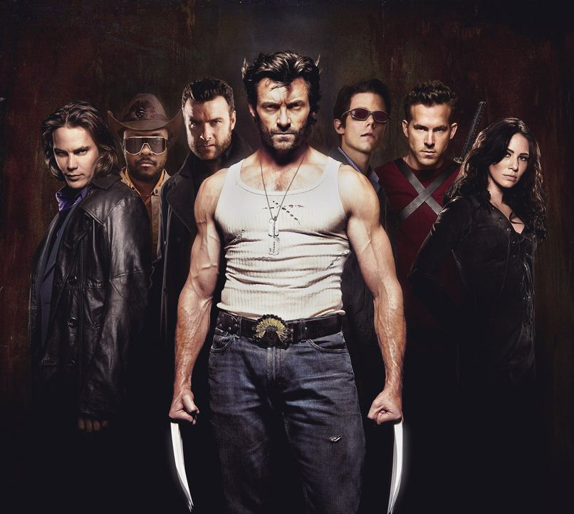 (v.l.n.r.) Gambit (Taylor Kitsch); John Wraith (Will.i.am); Sabretooth (Liev Schreiber); Wolverine (Hugh Jackman); Cyclops (Tim Pocock); Wade Wilson... - Bildquelle: Michael Muller 2009 Twentieth Century Fox Film Corporation. All rights reserved. X-Men Character Likenesses TM & © 2009 Marvel Characters, Inc. All Rights Reserved / Michael Muller