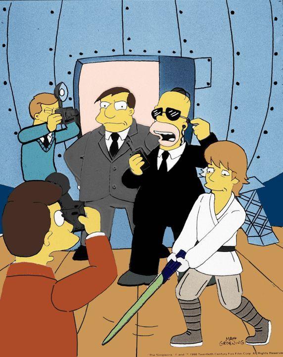 Zum Schutz von Bürgermeister Quimby (M.) hat Homer (2.v.r.) Skywalker Hamill (r.) engagiert. - Bildquelle: und TM Twenthieth Century Fox Film Corporation - Alle Rechte vorbehalten