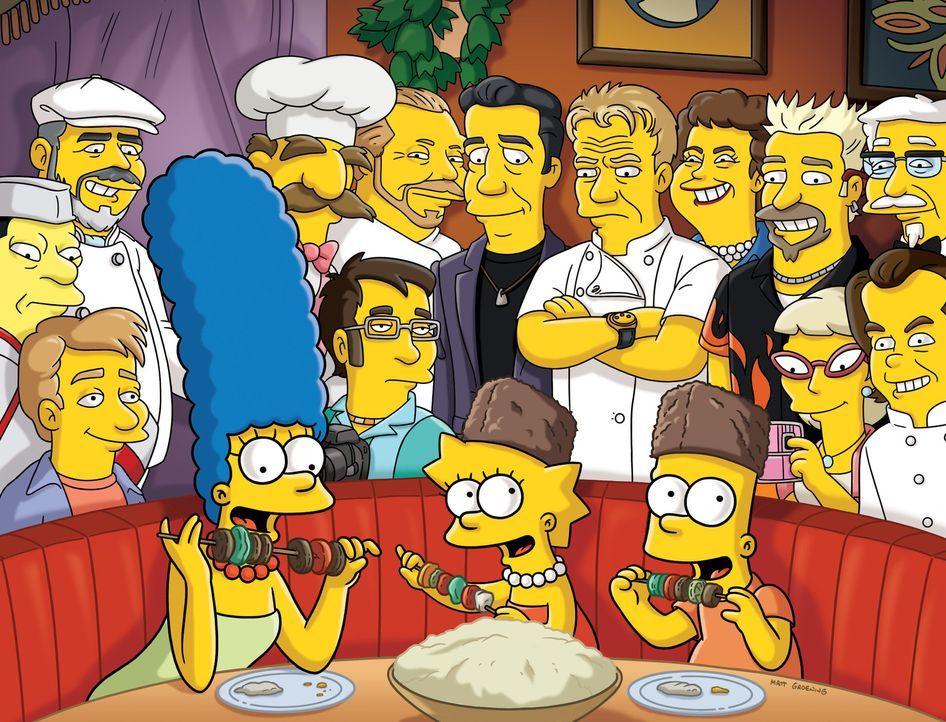Um in der Gunst ihrer Kinder zu steigen, organisiert Marge (vorne l.) ein Spaßwochenende für Bart (vorne r.) und Lisa (vorne M.) ... - Bildquelle: und TM Twentieth Century Fox Film Corporation - Alle Rechte vorbehalten