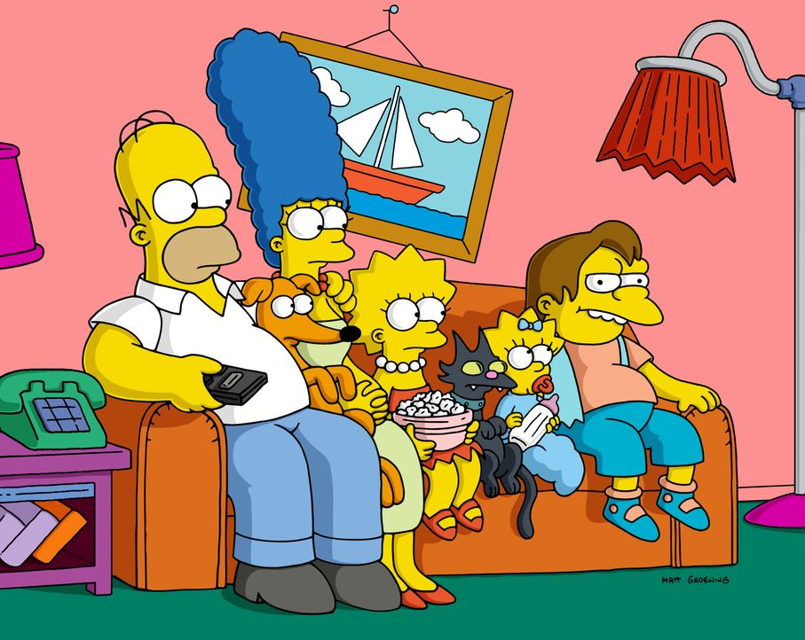 (v.l.n.r.) Homer; Marge; Lisa; Maggie; Nelson - Bildquelle: 2004 Fox and its related entities.  All rights reserved.