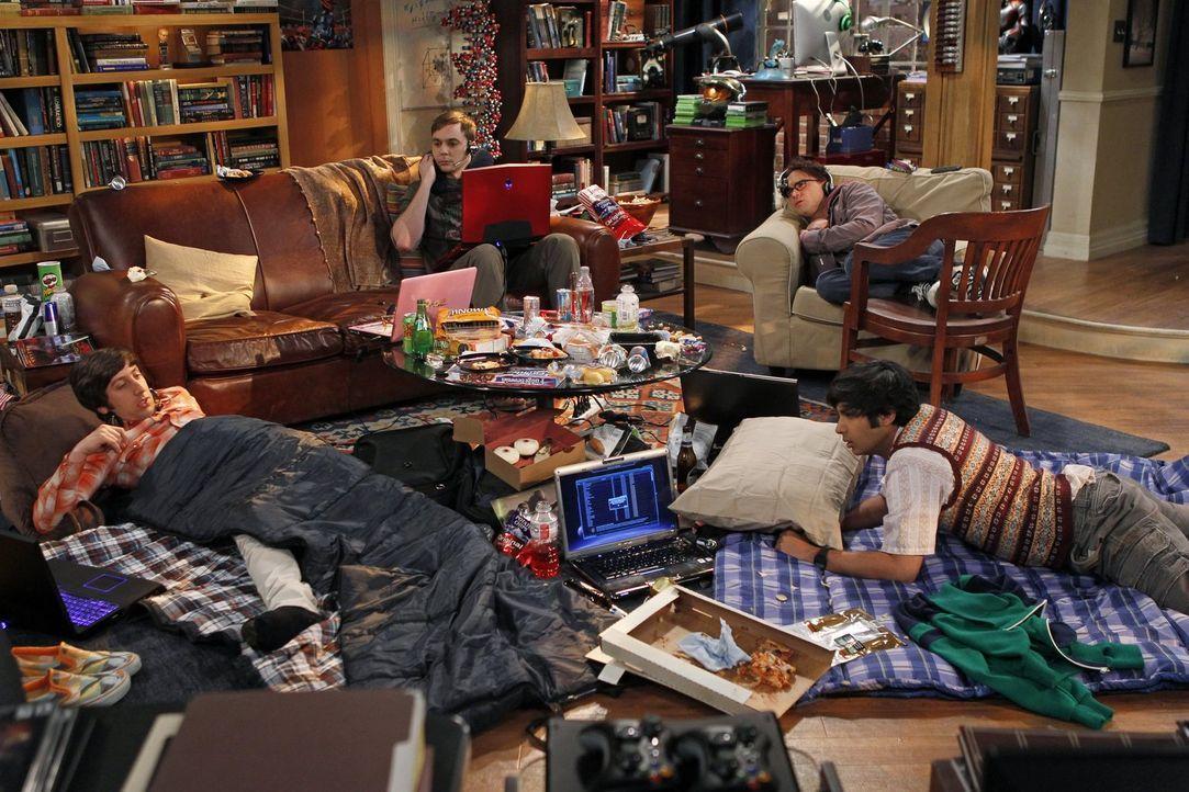 Ein ganz besonderes Wochenende: Sheldon (Jim Parsons, hinten l.), Raj (Kunal Nayyar, vorne r.), Leonard (Johnny Galecki, hinten r.) und Howard (Simo... - Bildquelle: Warner Bros. Television