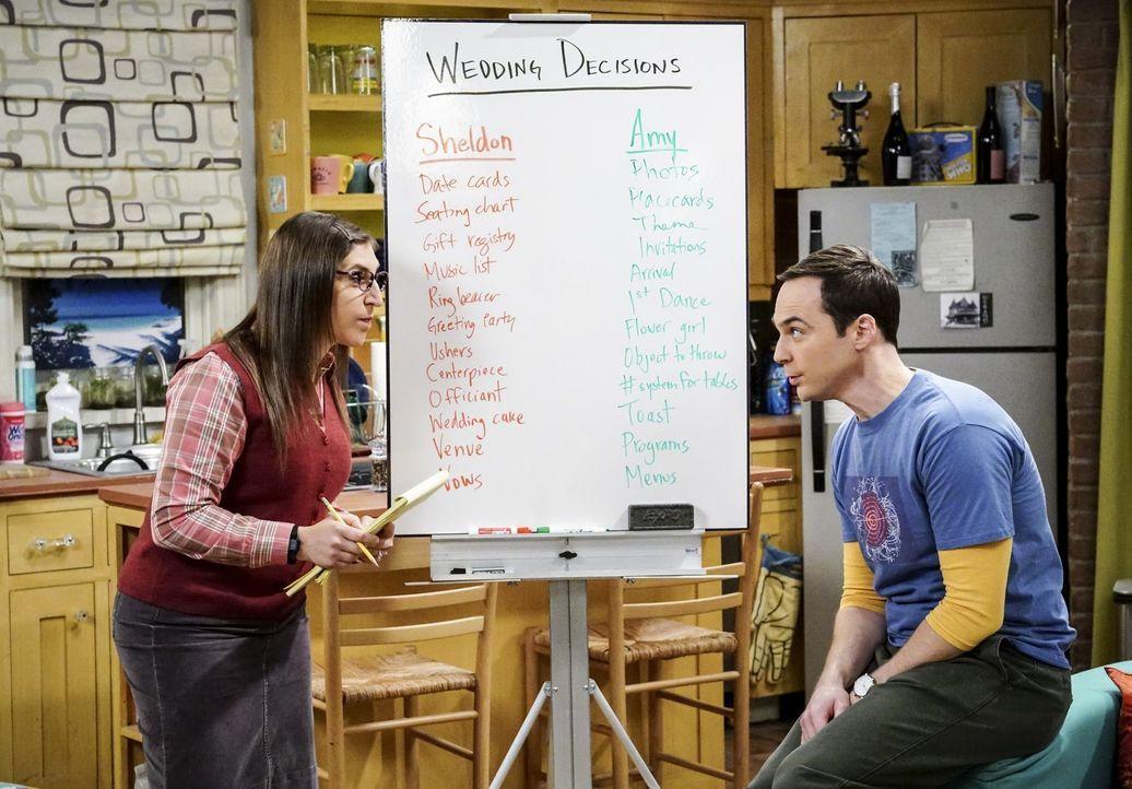 Der Versuch, ihren Hochzeitsplanungsstress durch Mathematik zu minimieren, funktioniert nicht so, wie Amy (Mayim Bialik, l.) und Sheldon (Jim Parson... - Bildquelle: Warner Bros. Television