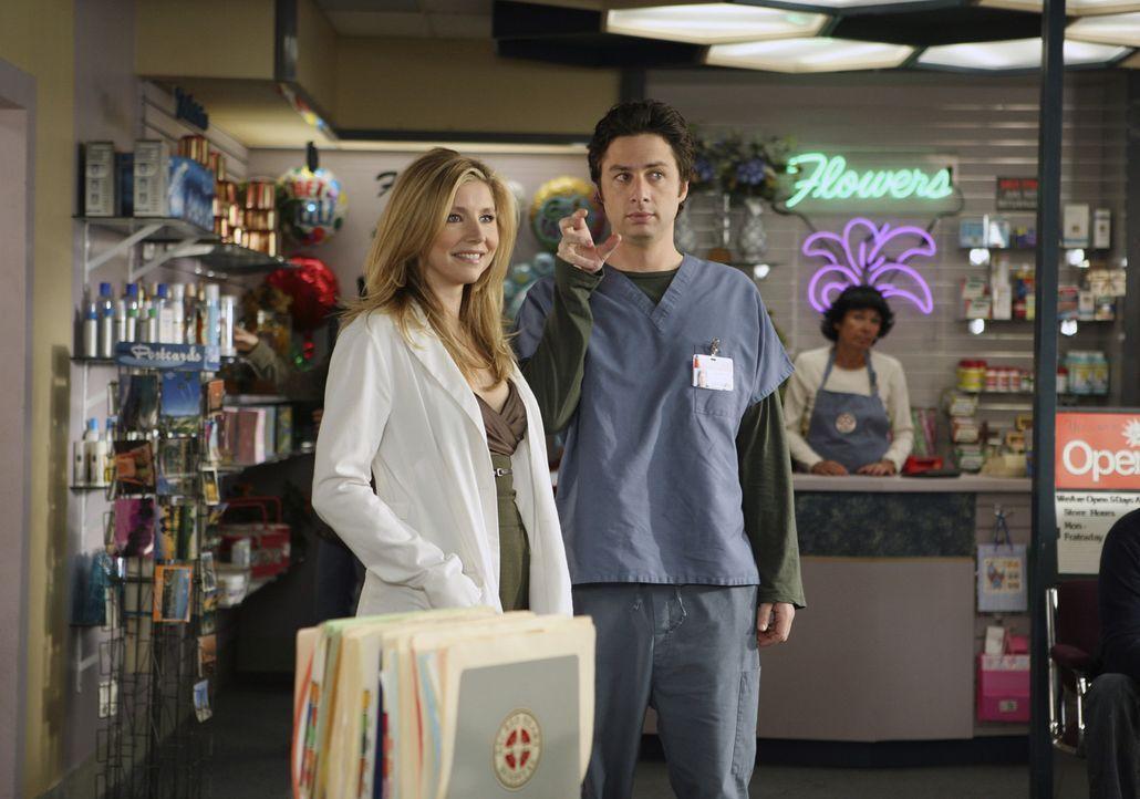 Weil Elliott (Sarah Chalke, l.) plötzlich so viel Zeit mit ihrer Freundin Melody verbringt, fühlt sich J.D. (Zach Braff, r.) vernachlässigt und s... - Bildquelle: Touchstone Television