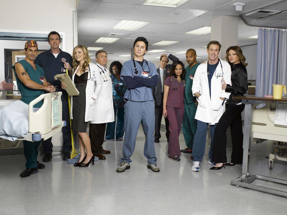 (6. Staffel) - Die Truppe vom Sacred Heart Hospital: (v.l.n.r.) Dr. Todd Quinlan (Robert Maschio), Hausmeister (Neil Flynn), Elliot (Sarah Chalke),... - Bildquelle: Touchstone Television