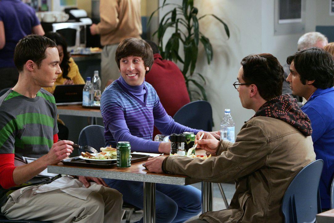 Gute Freunde: Leonard (Johnny Galecki, 2.v.r.), Sheldon (Jim Parsons, l.), Rajesh (Kunal Nayyar, r.) und Howard (Simon Helberg, 2.v.l.) ... - Bildquelle: Warner Bros. Television