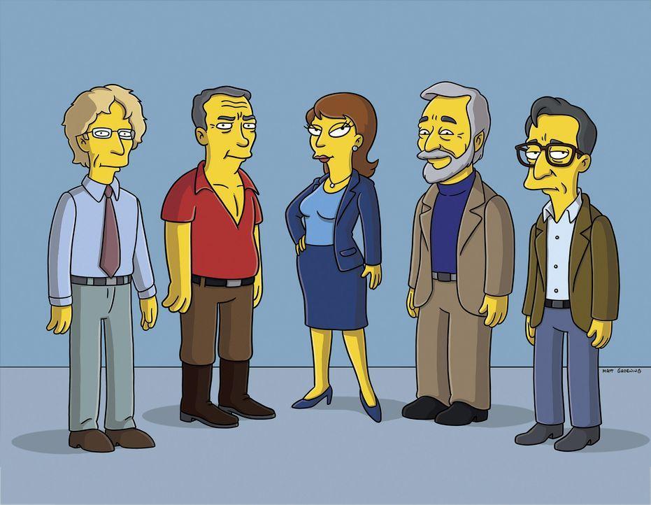 Selig sind die Dummen: Andy Dick (l.), James Patterson (2.v.l.), Dr. Swanson (M.), Stephen Sondheim (2.v.r.) und ein Psychologe (r.) ... - Bildquelle: 2007FOX BROADCASTING