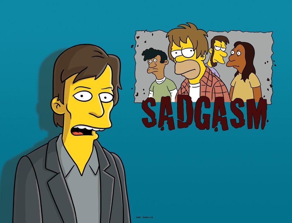 """Die Musiknachrichten werden unterbrochen und Kurt Loder (l.) verkündet die Auflösung der Grunge-Band """"Sadgasm"""", deren Leadsänger Homer Simpson (3... - Bildquelle: und TM Twentieth Century Fox Film Corporation - Alle Rechte vorbehalten"""