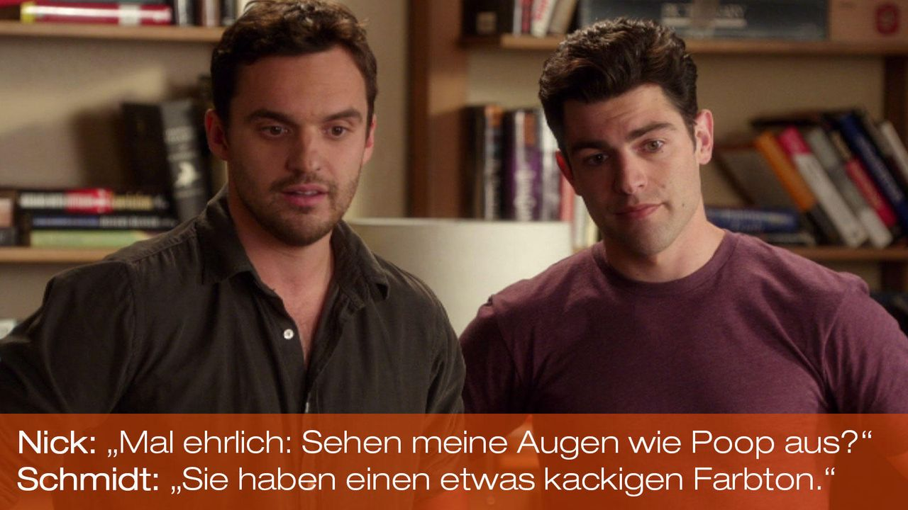 New Girl - Zitate - Staffel 1 Folge 21 - Nick (Jake Johnson), Schmidt (Max Greenfield) - Bildquelle: 20th Century Fox