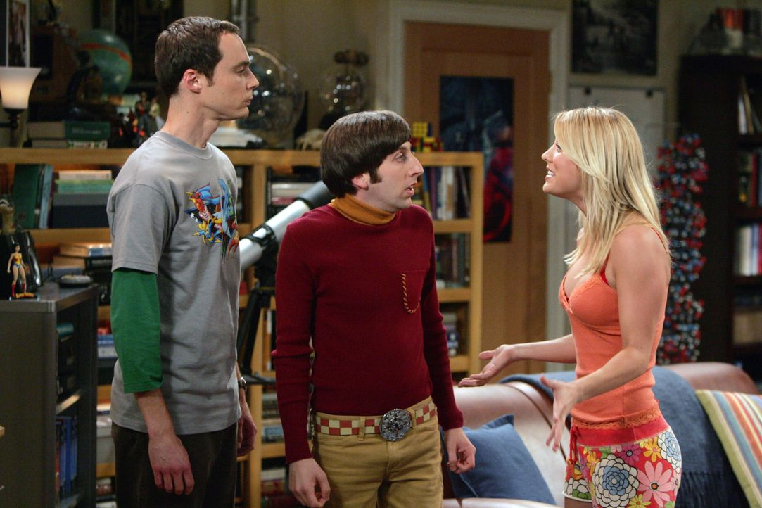 (v.l.n.r.) Sheldon Cooper (Jim Parsons); Howard Wolowitz (Simon Helberg); Penny (Kaley Cuoco) - Bildquelle: Warner Bros. Television