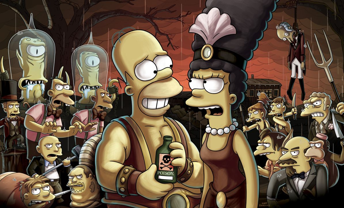 Die Trapezkünstlerin Marge (r.) und der Kraftprotz Homer (l.) sind im Wanderzirkus von Mr. Burns in den 1930er Jahren beschäftigt. Als der zirkuseig... - Bildquelle: 2013 Twentieth Century Fox Film Corporation. All rights reserved.