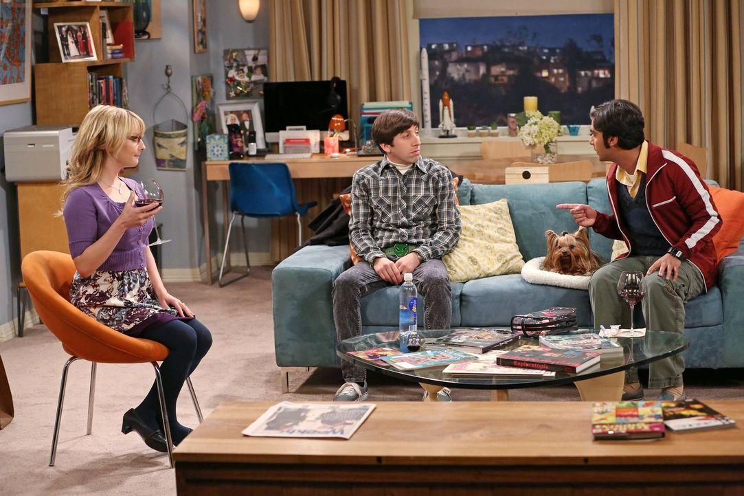 Während Sheldon mit seinem wissenschaftlichen Versagen hadert, zieht Raj (Kunal Nayyar, r.) mit seinem Hund bei Bernadette (Melissa Rauch, l.) und H... - Bildquelle: Warner Brothers