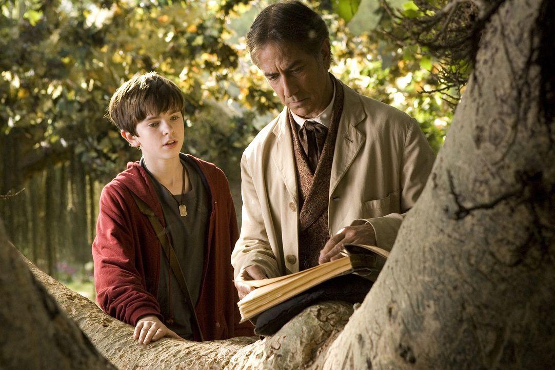 Mit Hilfe eines Greifs gelingt es Jared (Freddie Highmore, l.) in die Welt der Elfen zu fliegen, wo er seinen Großonkel Arthur Spiderwick (David Str... - Bildquelle: Paramount Pictures