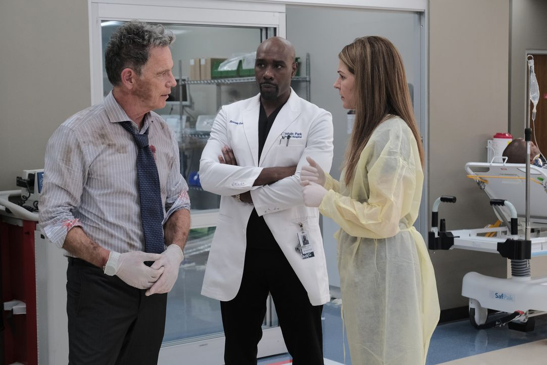(v.l.n.r.) Dr. Randolph Bell (Bruce Greenwood); Dr. Barrett Cain (Morris Chestnut); Dr. Kit Voss (Jane Leeves) - Bildquelle: Guy D'Alema 2019-2020 Twentieth Century Fox Film Corporation.  All rights reserved. / Guy D'Alema
