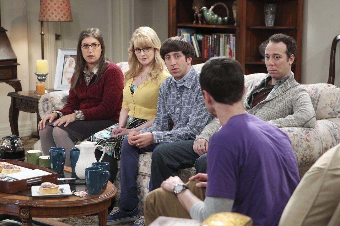 Das Beziehungsaus zwischen Amy (Mayim Bialik, l.) und Sheldon (Jim Parsons, r.) schafft eine angespannte Stimmung in der Gruppe. Bernadette (Melissa... - Bildquelle: Warner Brothers