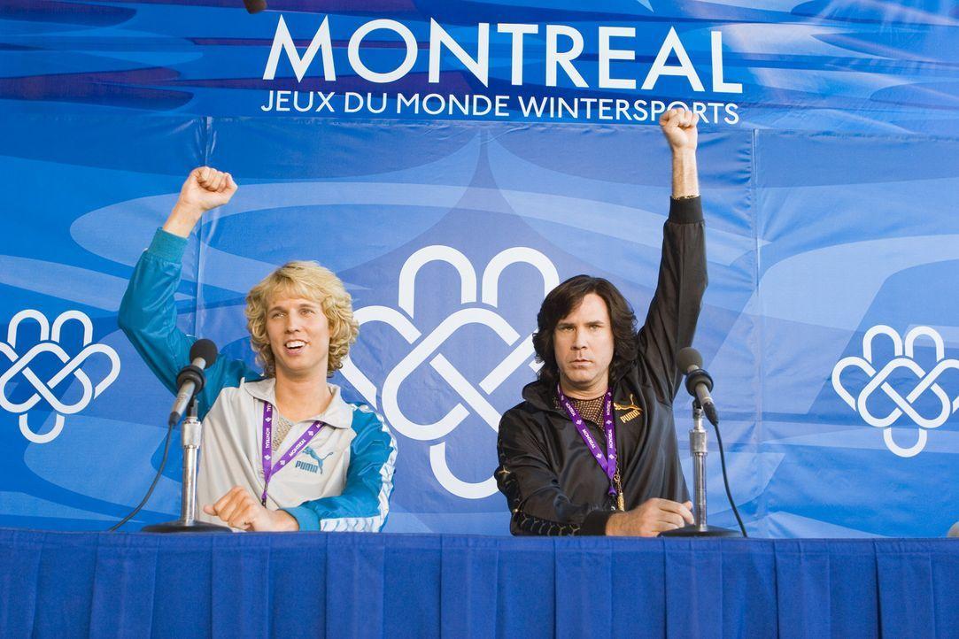 Wurden lediglich für den Eislauf gesperrt, aber nicht für den Paarlauf: Eines Tages verbünden sich Jimmy (Jon Heder, l.) und Chazz (Will Ferrell,... - Bildquelle: 2007 DREAMWORKS LLC. All Rights Reserved.