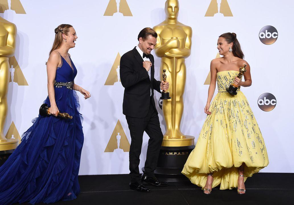 oscars-2016-Larson-DiCaprio-Vikander-AFP - Bildquelle: AFP