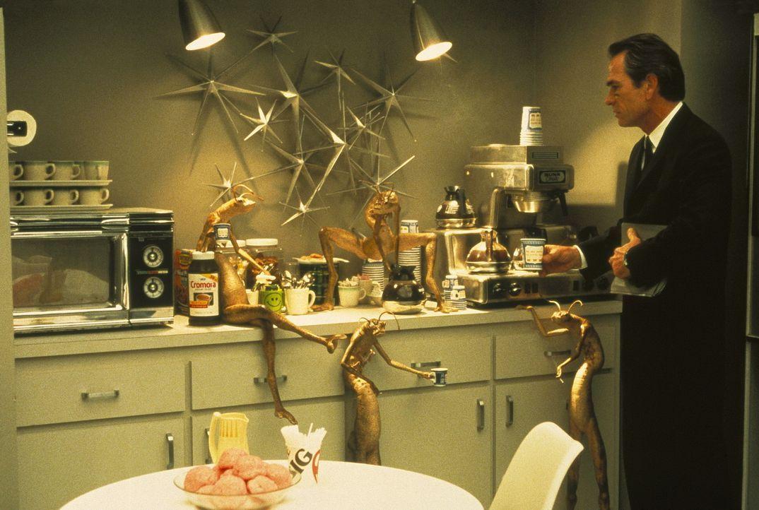 Der Plausch mit den Aliens lässt Agent K (Tommy Le Jones, r.) nichts Gutes erhoffen ... - Bildquelle: Columbia TriStar