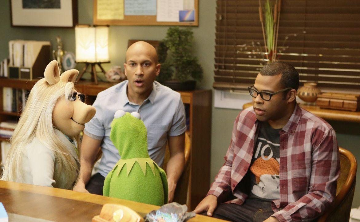Miss Piggy (l.) und Kermit (2.v.r.) treffen auf Keegan-Michael Key (Keegan-Michael Key, 2.v.l.) und Jordan Peele (Jordan Peele, r.) und erfahren wic... - Bildquelle: Nicole Wilder ABC Studios