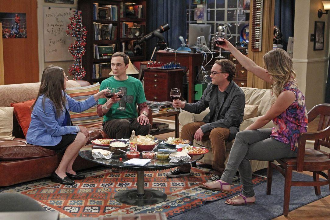 Sheldon (Jim Parsons, 2.v.l.) sucht verzweifelt nach einem neuen Forschungsgebiet, dem er sich widmen kann. Doch können Amy (Mayim Bialik, l.), Penn... - Bildquelle: Warner Brothers