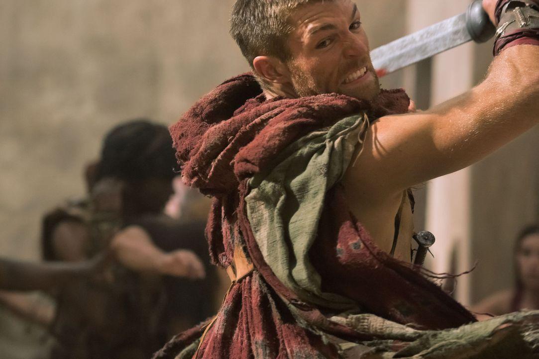 Am liebsten würde er Glaber, während er vor den Einwohner von Capua eine Rede hält, umbringen: Da zieht Spartacus (Liam McIntyre) das Schwert ... - Bildquelle: 2011 Starz Entertainment, LLC. All rights reserved.
