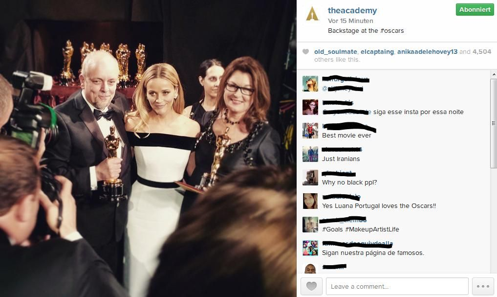 The Academy Instagram Show - Bildquelle: https://instagram.com/theacademy/