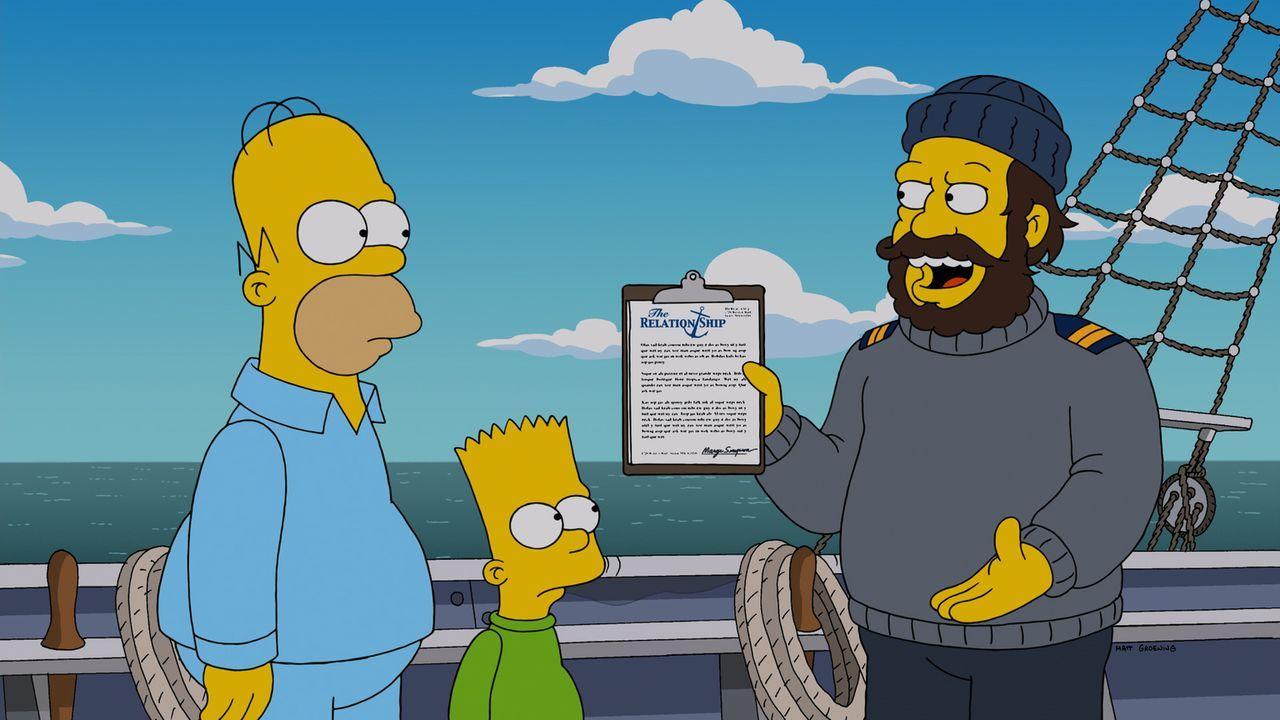 Während Homer (l.) und Bart (M.) sich mit dem Therapeuten (r.) herumärgern, hat Marge Probleme mit dem Footballspiel ihres Mannes ... - Bildquelle: 2014 Twentieth Century Fox Film Corporation. All rights reserved.