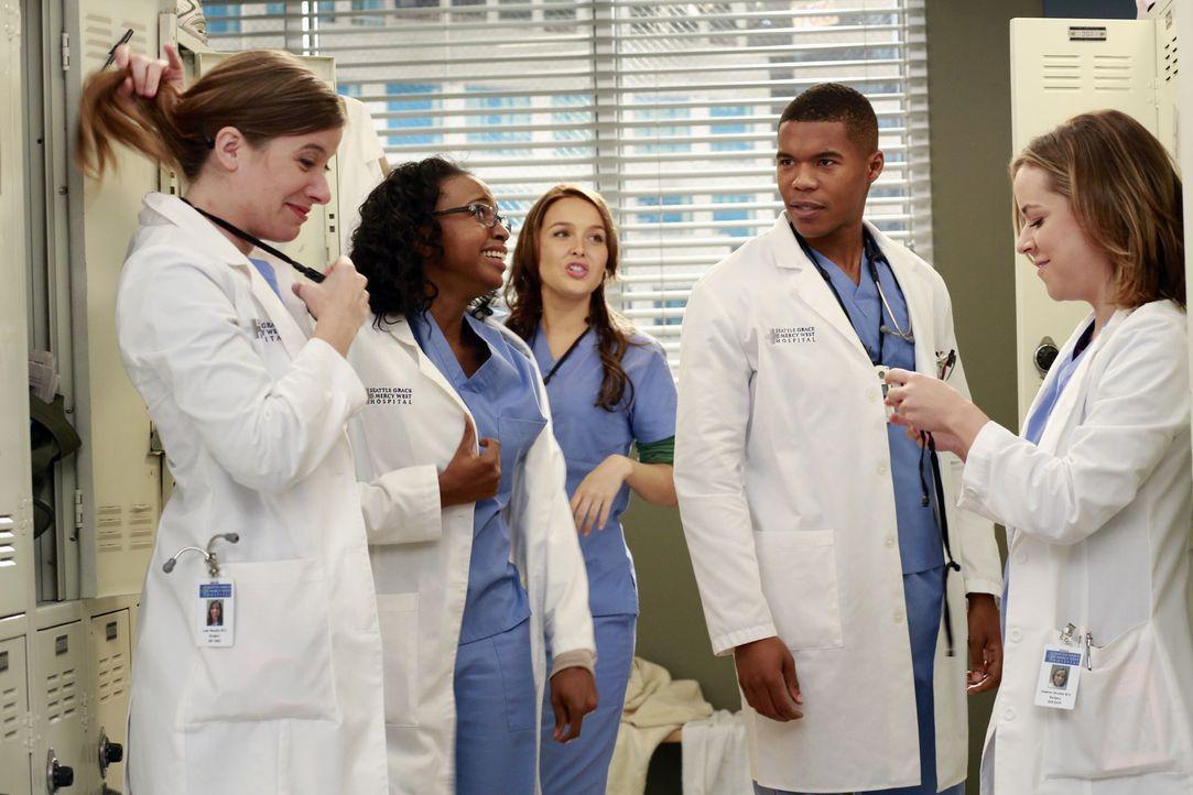 Die neuen Assistenzärzte finden sich inmitten des Dramas am Seattle Grace wieder: Leah (Tessa Ferrer, l.), Stephanie (Jerrika Hinton, 2.v.l.), Jo (... - Bildquelle: ABC Studios