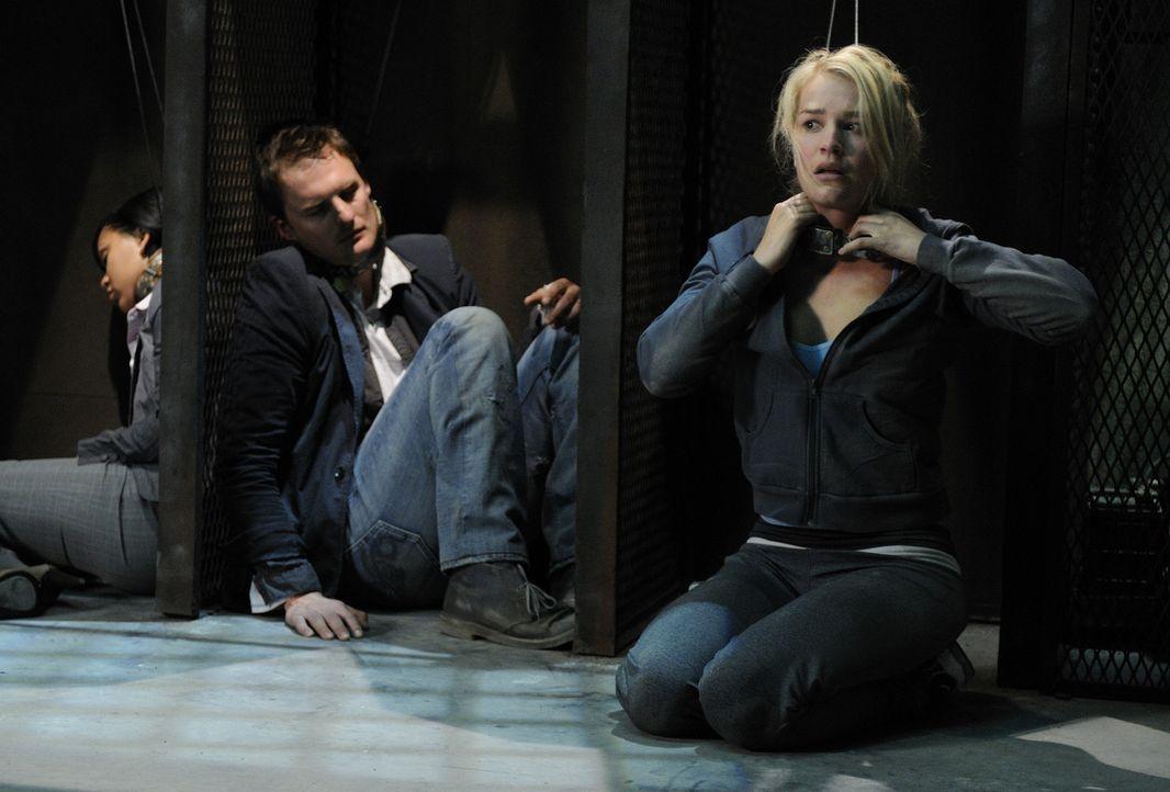 Erst viel zu spät geht den Teilnehmern (v.l.n.r.: Meagan Good, Greg Bryk, Laura Gordon) des mörderischen Spiels auf, dass sie nur gemeinsam eine  - Bildquelle: 2007 Lionsgate, Twisted Pictures