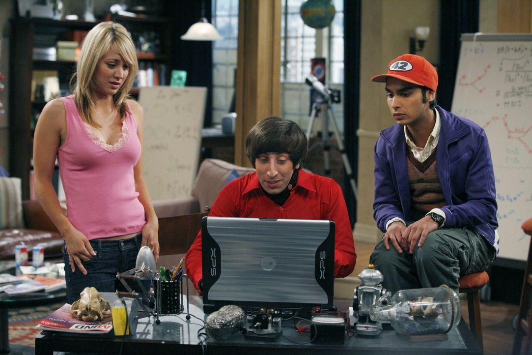Penny (Kaley Cuoco, l.) kann nicht glauben, dass man so leben kann wie Leonard, Sheldon, Howard (Simon Helberg, M.) und Rajesh (Kunal Nayyar, r.) ... - Bildquelle: Warner Bros. Television